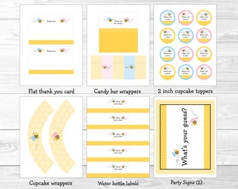 Bumble Bee Gender Reveal Party Package What will it BEE Pink Bee Blue Bee INSTANT DOWNLOAD