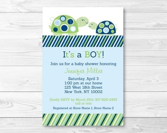 Cute Turtle Baby Shower Invitation / Turtle Baby Shower Invite / Turtle Baby Shower / Navy Blue & Green / Baby Boy Shower / PRINTABLE