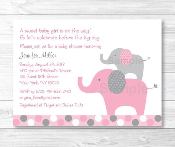 Pink elephant baby shower invitation elephant baby shower invite il570xn filmwisefo Gallery