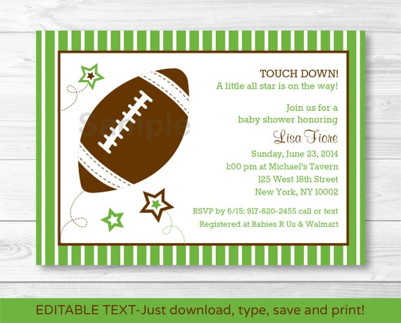 football all star printable baby shower invitation editable pdf ebay
