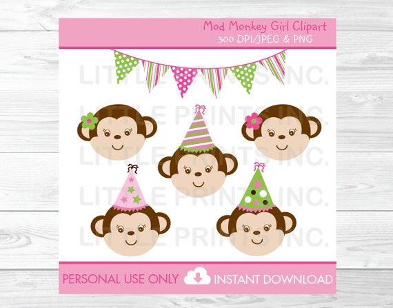 Mod Monkey Girl Birthday Clipart PERSONAL USE Instant Download