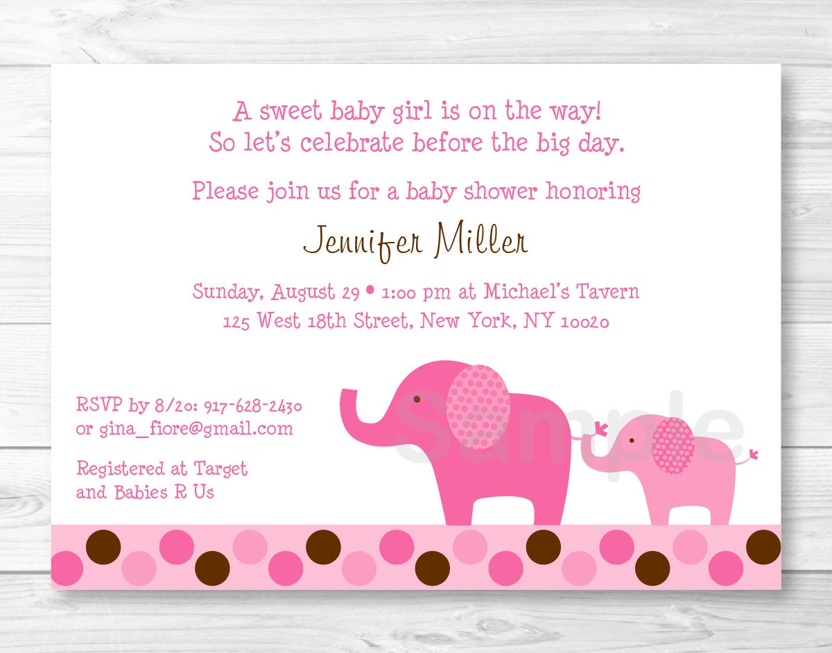 Cute Pink Elephant Baby Shower Invitation / Elephant Baby