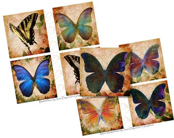 Butterflies  3.8 inch X 3.80 squares in 2 files, fabric, coasters, Scrapbooking, Collage Sheet,  Instant Digital Download TF027