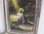 Vintage Jesus Print -Praying in the Garden - Religious Art - Large - Metal Frame - Reticulated Edges