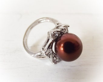 Vintage Cocktail Ring - Brown Pearl with Rhinestone - Size 7