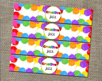 Art Birthday Party Water Bottle Wrapper Labels - DIY Printable Digital File for Instant Download - Cute, Colorful, Fun Theme for Paint Clay