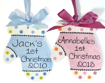 Personalized Ceramic Christmas Ornament - Baby Mitten with Polka Dots 1st Christmas
