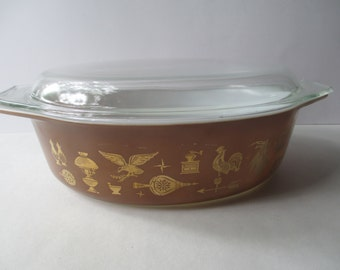 Vintage Pyrex Early American 2.5 Qt Oval Casserole