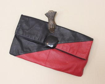 Two Toned - vintage 1980s Red & Black Leather  Envelope Clutch Purse