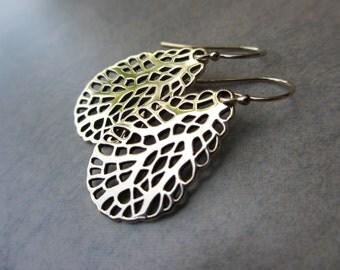 Nautical Gold Earrings, Sea Fan Earrings, Beach, Bronze, Oval, Teadrop, Irisjewlerydesign