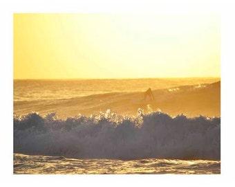 Sunset Waves Film Rincon Puerto Rico Beach Surf Yellow Surfer Surf Art 11x14 Print