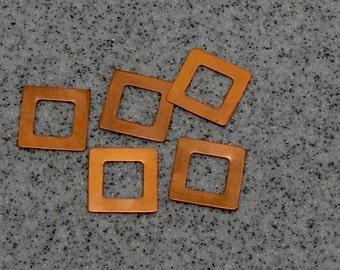 """7/8"""" Copper Square Washer 24 Gauge 7/8""""OD/12.5mmID Pack of 5"""