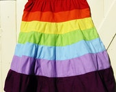 Girls size 6,7,8 rainbow skirt, cotton fabrics, fully lined