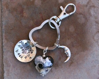 Black Heart I LOVE You To The Moon and Back Lampwork DeSIGNeR Purse Charm Fob Keychain Unique Trendy Gift Idea For Your Special Someone