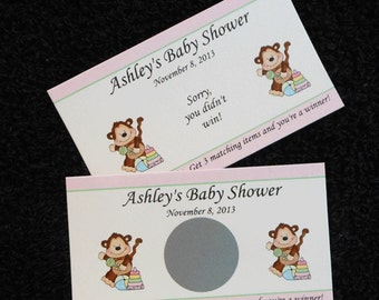 Personalized Scratch Off Cards Baby Shower, baby monkey, set of 25