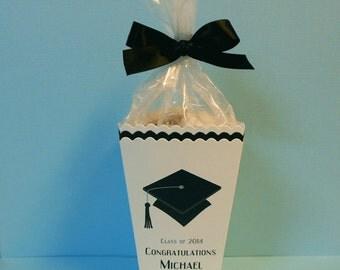 Personalized Graduation Popcorn Box Favor Boxes, graduation cap, black, set of 40 includes plastic bags and ribbon ties