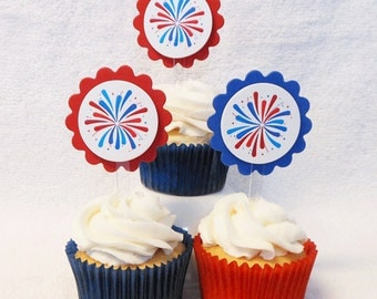Fourth of July fireworks cupcake toppers, set of 12