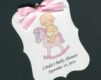Personalized Baby Shower Favor Tags, baby girl on rocking horse, set of 40
