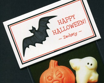 Personalized Halloween Party Favor Bag Topper Label With Black Bat, Set of 25