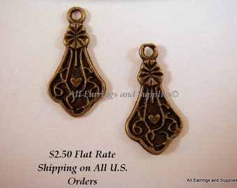 10 Antique Brass Fancy Teardrop Charm 15x9mm Single Sided - 10 pc - 6228-12