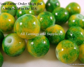 25 Yellow Glass Bead 8mm Dark Green Striations - 8 inch - G6001-DGY25