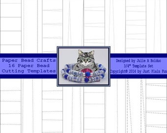 """16 Cutting Templates for 3/4"""" long Paper Beads including tube, cone shaped, bicone, barrel and tapered beads."""