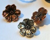 Set of 3  Flower Button in Antique Copper or Silver