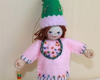 Boy with Green pointy hat, Hanging Ornament, Felt Art Dolls and Miniatures, Easter Decorations
