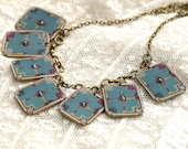 Deco Aqua Necklace - Art Deco Necklace - Art Deco Jewelry - Vintage Print Jewelry - Aqua Necklace - Printed Necklace - Hand Made Jewelry