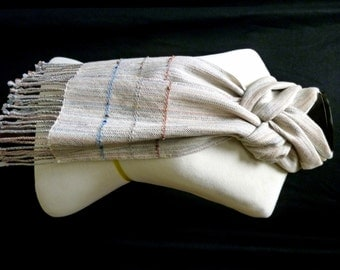 Handwoven Wool and Cotton Variegated Scarf
