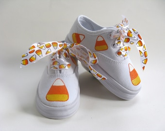 Girls Halloween Candy Corn Shoes, Hand Painted Kids Sneakers for Baby or Toddlers