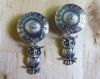 """0g - 1"""" (6mm-25mm) / Dangly Owl / Plugs Gauges Stretchers Earrings / Stretched Gauged Ears"""