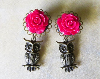 """2g 0g 00g 7/16"""" 1/2"""" 9/16"""" 5/8"""" (6mm-16mm) / Dangly Rose Owl / Plugs Gauges Stretchers Earrings / Stretched Gauged Ears"""