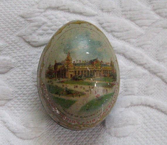 Litho Souvenir Tin Egg World S Fair 1904 St Louis World