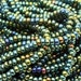 "Size 8 Czech rocaille seed bead  2 STRANDS, 18"" strands,  Green Iris AB, #588, ready to ship"