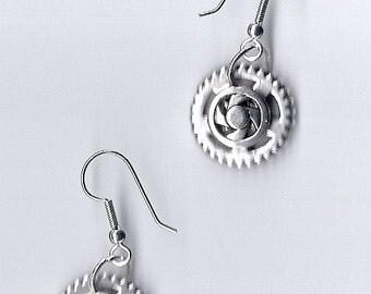 New - Steampunk Silvertone cog earrings