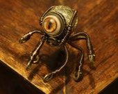 Little Steampunk Octopus Robot Sculpture with Glass Dome Display - Made to order