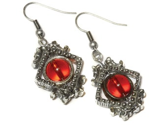Victorian Earrings - Red -  Silver