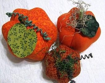 pumpkins, fabric pumpkins, Fall, Autumn, office, wedding decor- rich autumn  - set of 3 p U m P k I nS with 1 set of bling - 64