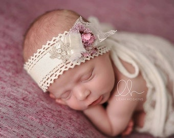 Star Anise - Open Halo Headband Wrap Tie Back - Purple Plum Cream Lace Rosette - Newborn Baby Girl Infant Adults - Photo Prop