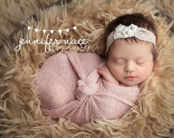 Kiersten - Blush Pink Cream Lace Headband -  Vintage Style - Pearls - Girls Newborns Baby Infant Adults