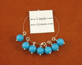 Natural Turquoise Stone (Stabilized) 18mm x 8mm Round Beads Wire Wrapped Dangles, Sold per set of 7, 1019-31