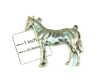 HORSE, symbol of 2014 Aniqued Silver Metal 45mm x 240mm Two Loops Pendant, Sold Individually, 1020-15