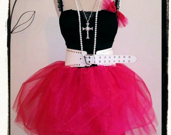 80s Prom Dress~ 80's Clothing~ Hot Pink High Waist Tulle Skirt Tutu~ Black Corset Dress Outfit~ Carrie Bradshaw Complete w Accessories- XS