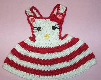 Crochet Baby Jumper Dress Kitty Red and White Jumper for Newborn to 3 Month Babies PDF Pattern