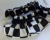 CHECKERED FLAG GARTER Set or Money Bag black white checkered flag, racing, car, nascar Wedding Bridal Race Car Two pc set