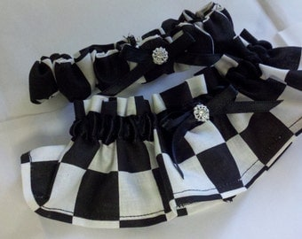 CHECKS GARTER SET or Money Bag black white checkered flag, racing, car, nascar Wedding Bridal Race Car Two pc set