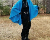 Electric Blue Fleece Shawl or Wrap--One Size Petite - youngbear