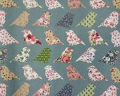 3847 - Patchwork Bird (Desaturated Cyan) Oilcloth Waterproof Fabric - 28 Inch (Width) x 17 Inch (Length)