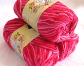 Creme de la Creme Cotton Yarn, pink white cotton yarn, PRETTY in PINK, cotton candy